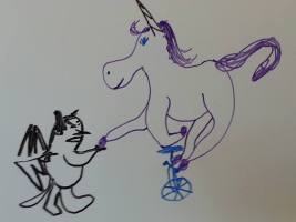 For no reason, a troll and a unicycling unicorn