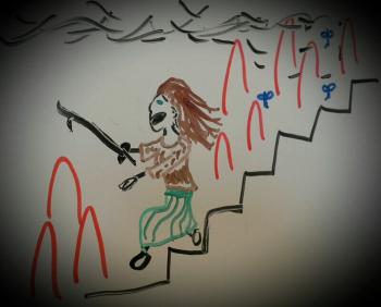 Skye fleeing the fire