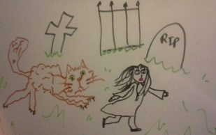 Minnie is chased by a cat in Seelie Goose