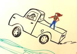 Gonzo truck-surfs