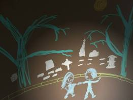 Frannie and Brett in the shadow version of Crown Hill Cemetery