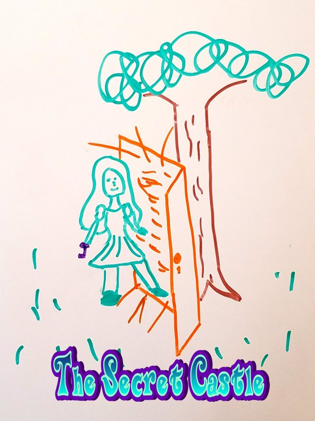 A green girl appears to walk through a glowing orange door in a forest.