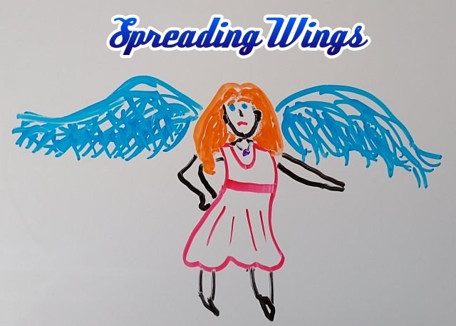 A sad-looking orange-haired woman in a red dress with wide blue wings.