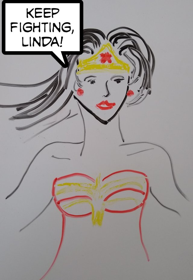 Whiteboard Wonder Woman for Linda